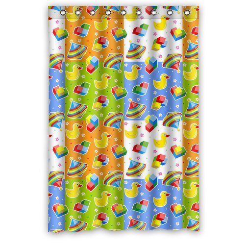 Custom Unique Design Funny Cute Duck Waterproof Fabric Shower Curtain