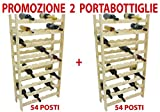 2 pezzi porta bottiglie cantinetta in legno naturale 54 posti per vino cantina