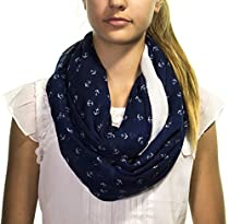 Infinity Circle Loop Scarf - Anchor Print - Navy Blue/White