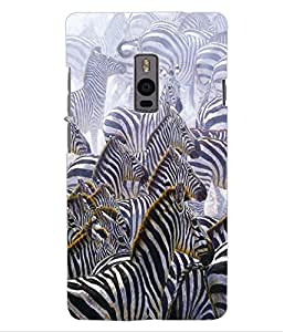 ColourCraft Zebras Design Back Case Cover for OnePlus Two