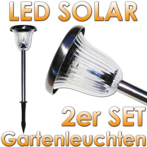 """Solar-Gartenleuchte McShine """"SGL-P2″, Edelstahl, mit Erdspieß, HxØ 40x13cm, 2er"""