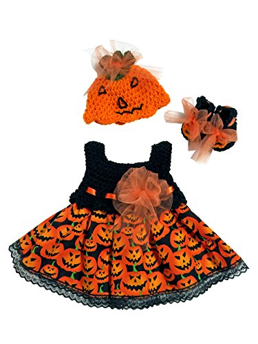 MiC Crafts Halloween Scary Pumpkin Baby Girl 3 Piece Black and Orange
