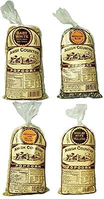 Amish Country Popcorn Gourmet Hulless Variety Sampler Set Baby White, Medium White, Ladyfinger, & Midnight Blue 1-Pound Bags (Pack of 4)