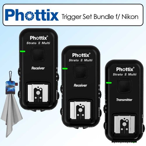 Phottix Strato II Multi 5-IN-1 Trigger Set for Nikon -PH15653 Bundle With Additional Receiver and Microfiber Cloth