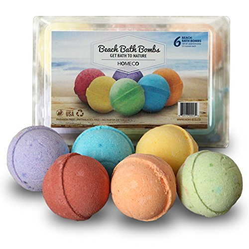 Bath Bombs Gift Set of 6, Beach Scents, Paraben Free, Phthalates Free, All Natural Essential Oils, Cocoa Butter, Fizzies, Melts