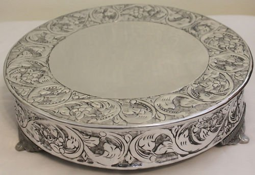 14 Inch Silver Round Wedding Cake Stand Plateau Silver Cake Plateau