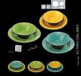 Deagourmet Nero&Colore Set Piatti, Stoneware, Verde/Giallo/Turchese, 6 Pezzi, Piano 28 cm/Fondo 20 cm