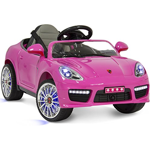 best choice products kids 12v ride on sports car style w hydraulics remote control 2 speeds led lights little kid cars