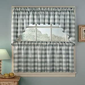Peri Homeworks Rowan Plaid Slate Blue Pair Of Tailored Tiers Cafe Curtains Home