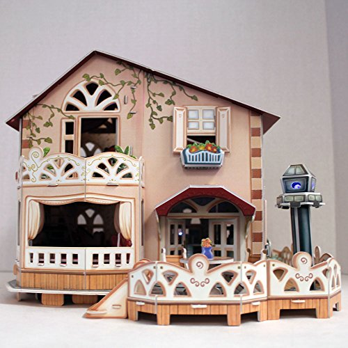 Holiday Bungalow Dollhouse 3D Puzzle 114 Piece With Led Lights