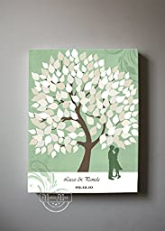 MuralMax - Personalized Family Tree & Lovebirds, Stretched Canvas Wall Art, Make Your Wedding & Anniversary Gifts Memorable, Unique Wall Decor - Green - Size 30 x 24 - 30-DAY
