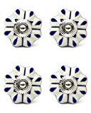 Knobs & Hooks Ceramic Cabinet Knob; White+Blue; Set of four pieces