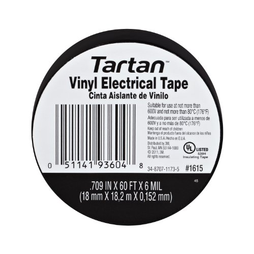 Tartan 1615 10 PACK  Electrical Tape, 5/7-Inch by 60-Feet, 10 Per Pack