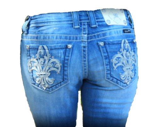 Womens Miss Me Jeans NEW White Fleur De Lis Design Boot Cut Designer Jeans Medium Wash/Distressed - Crystal Accents Open Pocket, 27