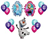 Disney Frozen XL Mylar Balloons Olaf Anna Elsa With 12ct GUARANTEED 4 of Each Color Latex Balloons - 14pc Decorating Kit