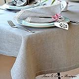 Luxury Hemstitched Linen & Cotton Natural Tablecloth, 100% Linen - 143 x 300cm (57.2'' x 120'')