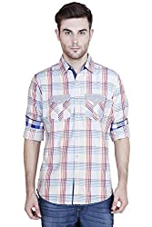 Showoff Men's Full Sleeves Slim fit Yellow Checkered Casual Shirt