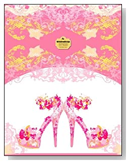 Pink Stiletto Heels Notebook - A pair of fancy pink stiletto heeled shoes bring class and dress up the cover of this blank and wide ruled notebook with blank pages on the left and lined pages on the right.
