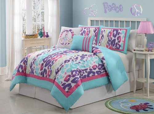 Girls/Teen Multi-Color Leopard Peace Comforter Set (Twin Size) front-993362