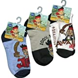 Jake the Neverland 3 Pack Ankle Socks Size 6 to 8 1/2 - 3 packs set assorted Style