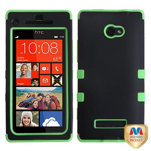 Phonetatoos (Tm) For Htc 6990Lvw (Windows 8X), Windows Phone 8X Rubberized Black/Electric Green Tuff Hybrid Phone Protector Cover - Lifetime Warranty front-917144
