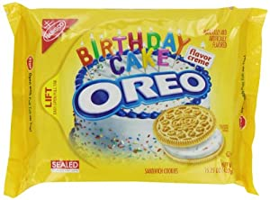 Oreo Golden Birthday Cake Sandwich Cookies, 15.25 Ounce