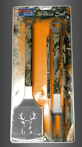 Camo Buck 3-piece Set Sportula Set Grilling Tailgating Tools Spatula