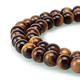 BRCbeads Tiger Eye A Grade Gemstone Loose Beads Natural Round 8mm Crystal Energy Stone Healing Power for Jewelry Making- Yellow