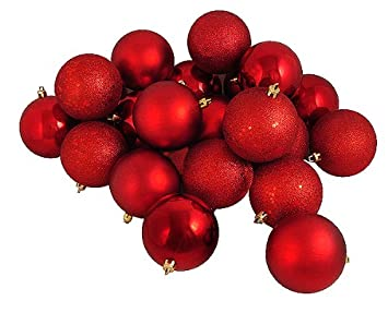 32ct Red Shatterproof 4-Finish Christmas Ball Ornaments