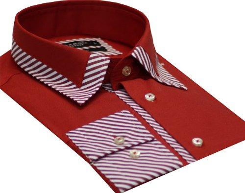 Italian Design Men's Formal Casual Shirts Designed Collar Red Colour Slim Fit