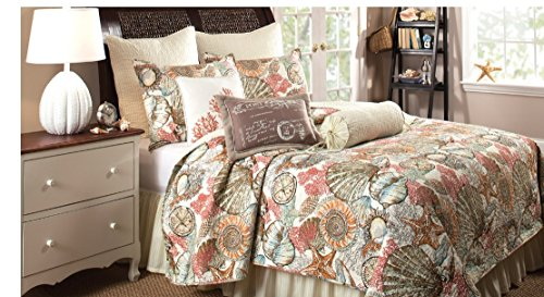 Brushed-Ashore-Beach-House-Coastal-2-Piece-Twin-Size-Quilt-Bedroom-Set-Coral-Seashell-Starfish-Tropical-Cotton