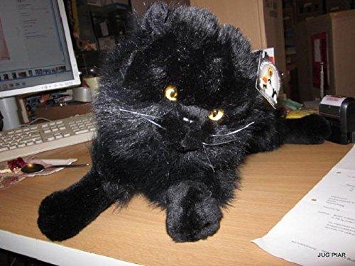 Liegende schwarze Perserkatze 35 cm Katze Plüschkatze