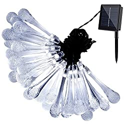 GDEALER Solar Outdoor String Lights 20ft 30 LED White Water Drop Solar String Fairy Waterproof Lights Christmas Lights Solar Powered String lights for Garden, Patio, Yard, Home Parties (1)