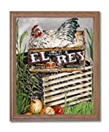 Chicken Hen Wood Crate Box Country Home Decor Wall Picture Oak Framed Art Print