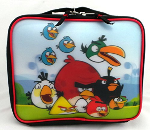 "Rovio Angry Birds Insulated Black Lunch Bag Tote w/ Top Carry Handle (8"" x 10"" x 3"") - 1"