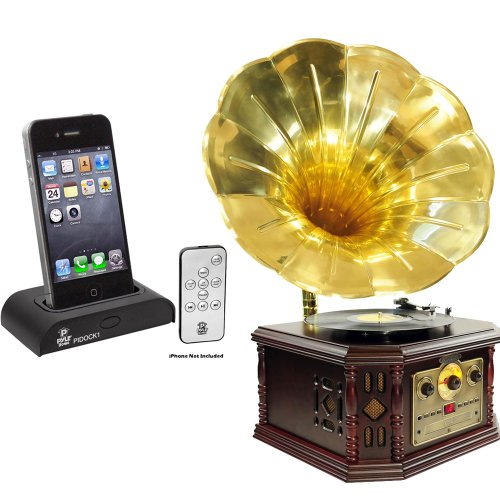 Pyle Turntable and Dock Package - PVNP4CD Vintage Phonograph Horn Turntable With CD, Cassette, AM/FM, Aux-In, USB-to-PC Recording - PIDOCK1 Universal iPod/iPhone Docking Station For Audio Output Charging - Sync W/iTunes And Remote control 0