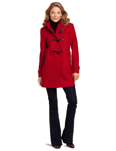 Tommy Hilfiger Women's Hooded Duffle Coat, Cardinal Red, 8