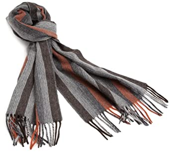 Amicale Men's 100% Cashmere Ombre Stripe Scarf, Brown/Orange, One Size