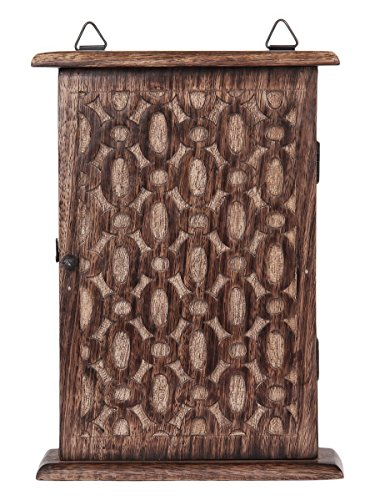 Store Indya Wall Mounted Key Holder Cabinet Organizer Wooden Storage Box with Floral Motif and 6 Hooks Antique Finish (10 x 7 Inches) 1
