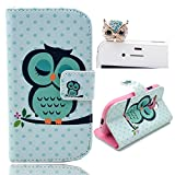 Vandot 2 in1 Accessory Set 3D Leather Case Little Owl Flip Case Polka Dot Case Flower Cover fairytale Stand Case for Samsung Galaxy S4 Mini i9190 by credit card Card Wallet hole Handmade Book Hybrid wallet Sweet Animals Cartoon Wood + Luxury Bling Glitter Diamond Crystal Owl Animals anti-dust stopper plug – White Green Yellow Black by Leather Factory Outlet
