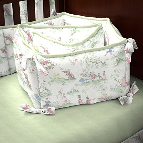 Carousel Designs Nursery Rhyme Toile Sage Crib Bumper back-320942