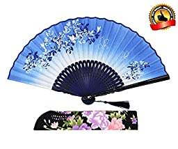 LYSA® High Quality Women Hand Held Flax Folding Fan With,and Silk Tissue Protective Sleeve --- China/Japan Style of Morning Glory Flower and Butterfly Pattern \