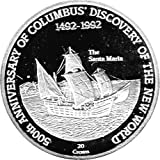 "20 Crown moneda conmemor. Turks & Caicos ""500th Anniversary of Columbus Discovery of the New World"", Voyage of Columbus, Prueba Numismática"