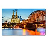 Liili Premium Large Table Mat 28.4 x 17.7 x 0.2 inches Cologne Cathedral and Hohenzollern Bridge Germany Photo 15700633