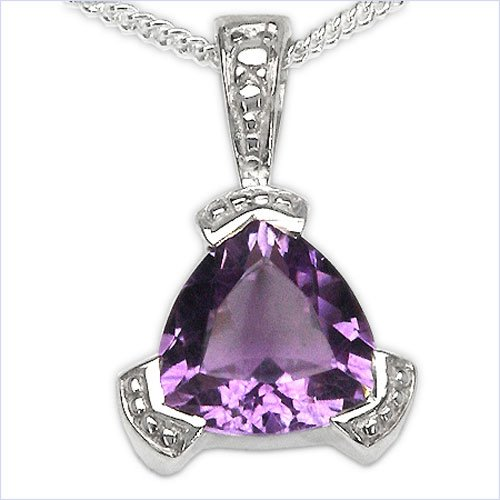 Jewelry-Schmidt-Collier / Necklace with Amethyst pendant 925 Silver Rhodium-1, 50-carat