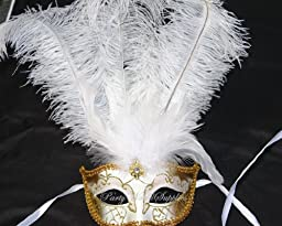 Exquisite White Masquerade Themed Wedding Engagement Party Masquerade Ball Mask (White Gold Ostrich)