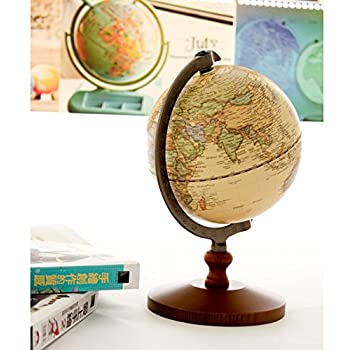 "KiaoTime Vintage World Globe Antique Decorative Desktop Globe Rotating Earth Geography Globe Wooden Base Educational Globe Wedding GIFT 8.25""x 5.75"""