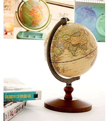 "KiaoTime Vintage World Globe Antique Decorative Desktop Globe Rotating Earth Geography Globe Wooden Base Educational Globe Wedding GIFT 8.25""x 5.75"" 2"