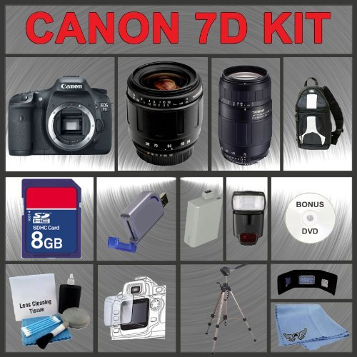 Canon EOS 7D Digital 18MP SLR Camera Body with Tamron AF 28-80mm f/3.5-5.6 Aspherical Lens & Tamron AF 75-300mm f/4.0-5.6 LD Lens for Canon Digital SLR Cameras 8GB Memory Card + Digital Flash + SD Memory Card Reader + Li-Ion Replacement Battery Pack + Del