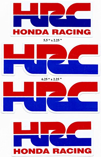 HRC Die-cut & Honda Racing Label Red/blue Decal Sticker Set 4 Pieces (Honda Hrc compare prices)
